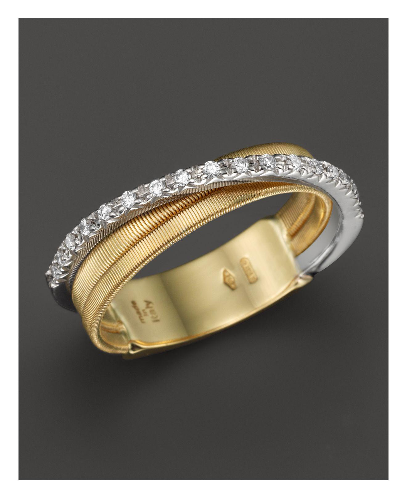 Marco Bicego Masai Three-Row 18K White & Yellow Ring with Diamonds y6vwiLSqT