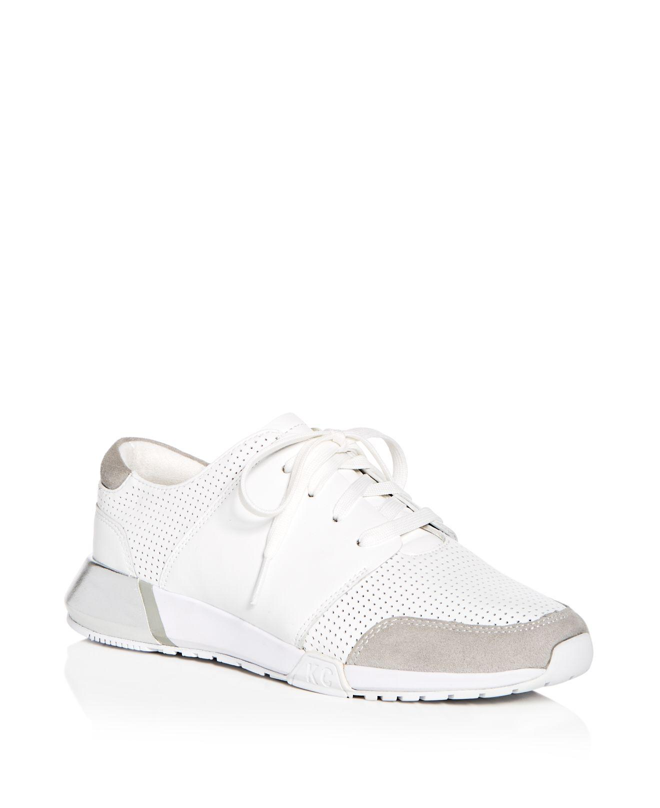 Kenneth Cole Women's Sumner Perforated Leather Lace Up Sneakers LWXZLCUG