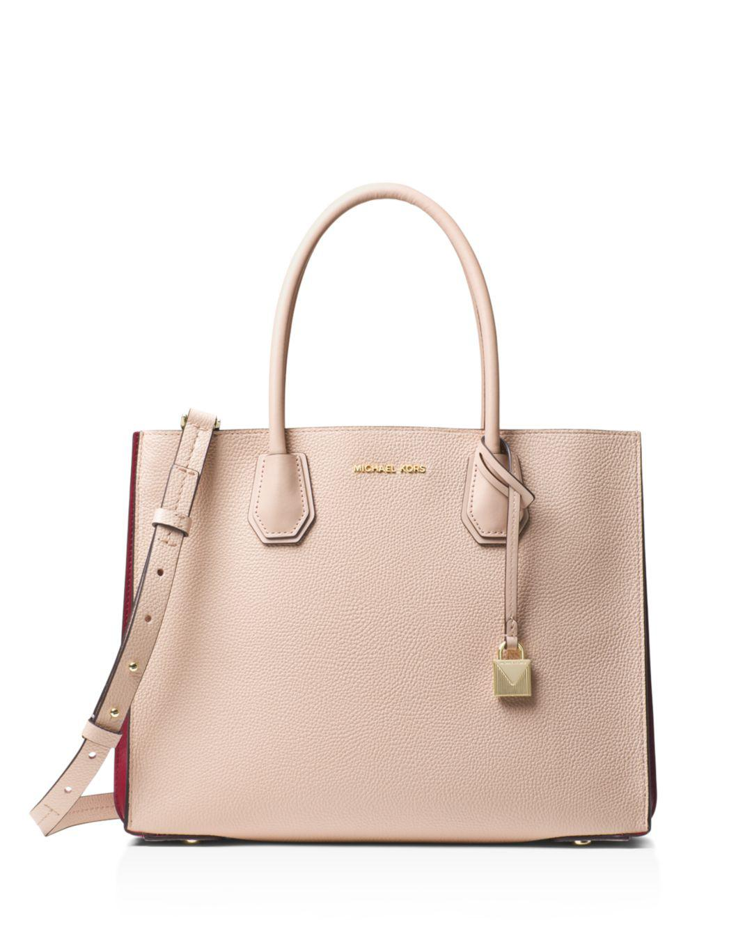19481f860f54 MICHAEL Michael Kors Mercer Large Leather Convertible Tote in Pink ...