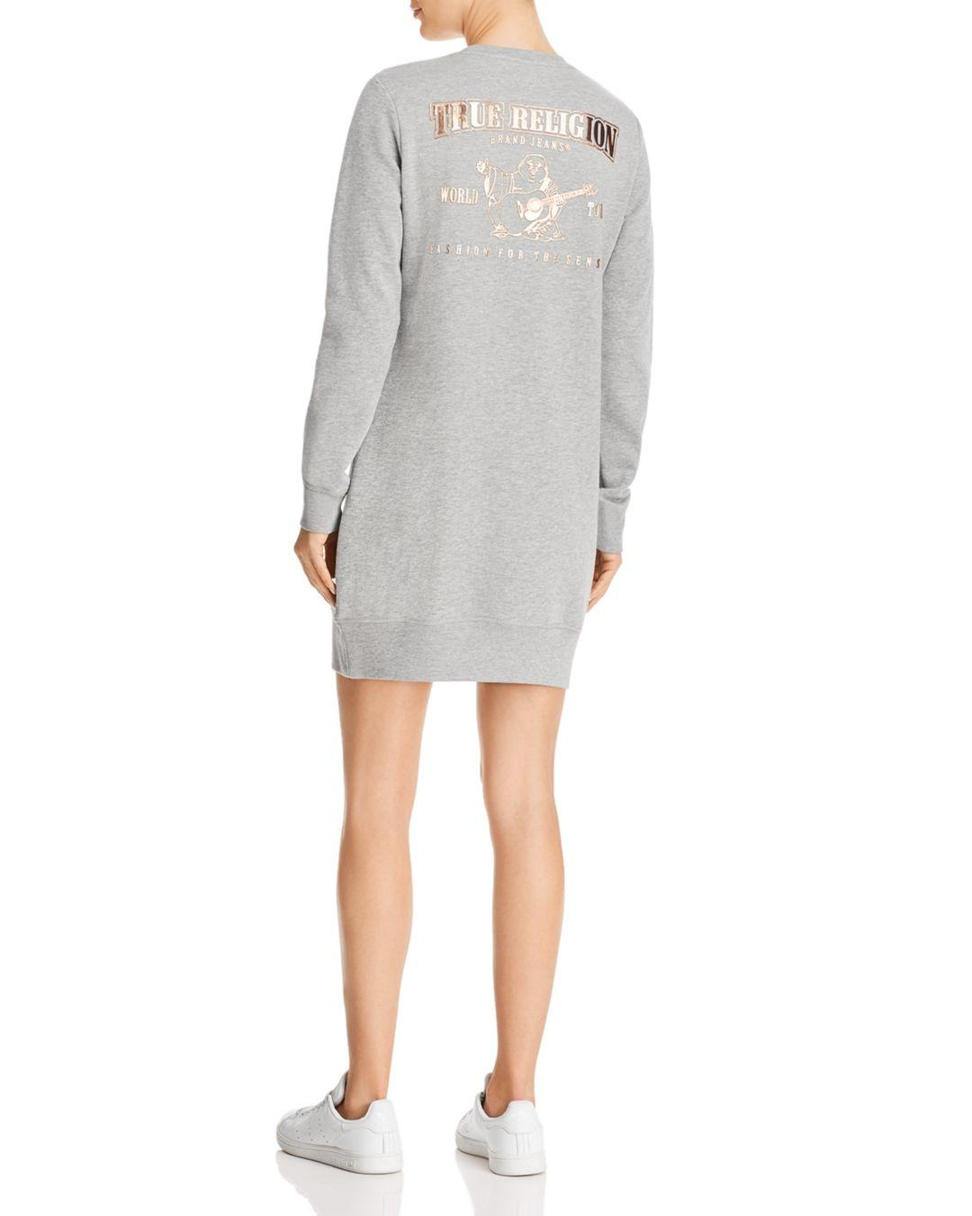 983a9b35d8 Lyst - True Religion Buddha Sweatshirt Dress in Gray