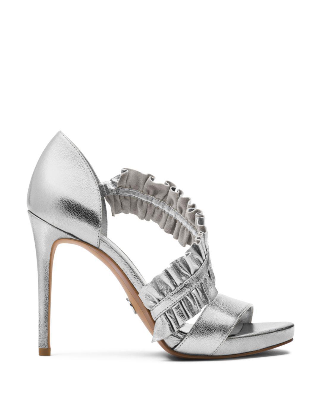 927495f7eb0a Michael Michael Kors Women s Bella Ruffled Leather Platform High ...