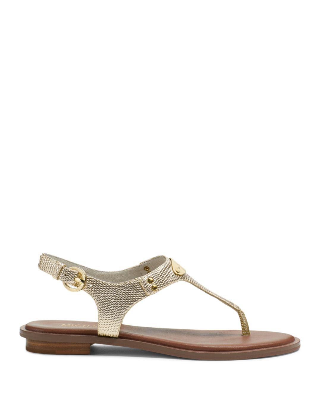 9d42df0d70f MICHAEL Michael Kors Mk Plate Thong Sandals - Lyst