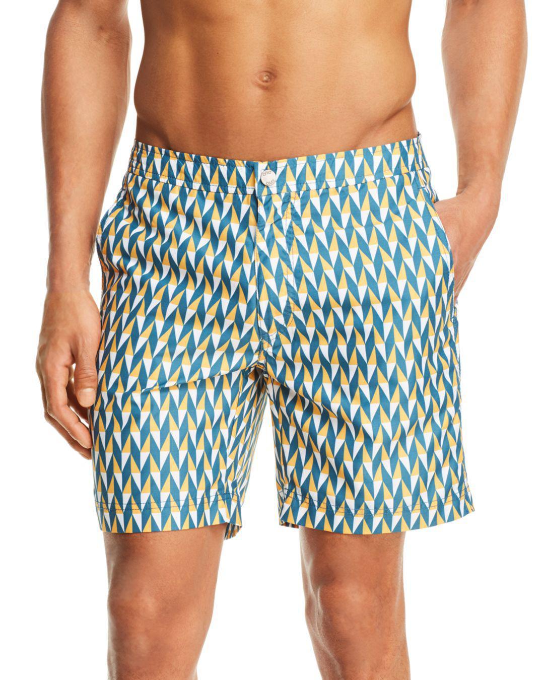 1a9f980495 Lyst - Onia Chevron Swim Trunks in Blue for Men