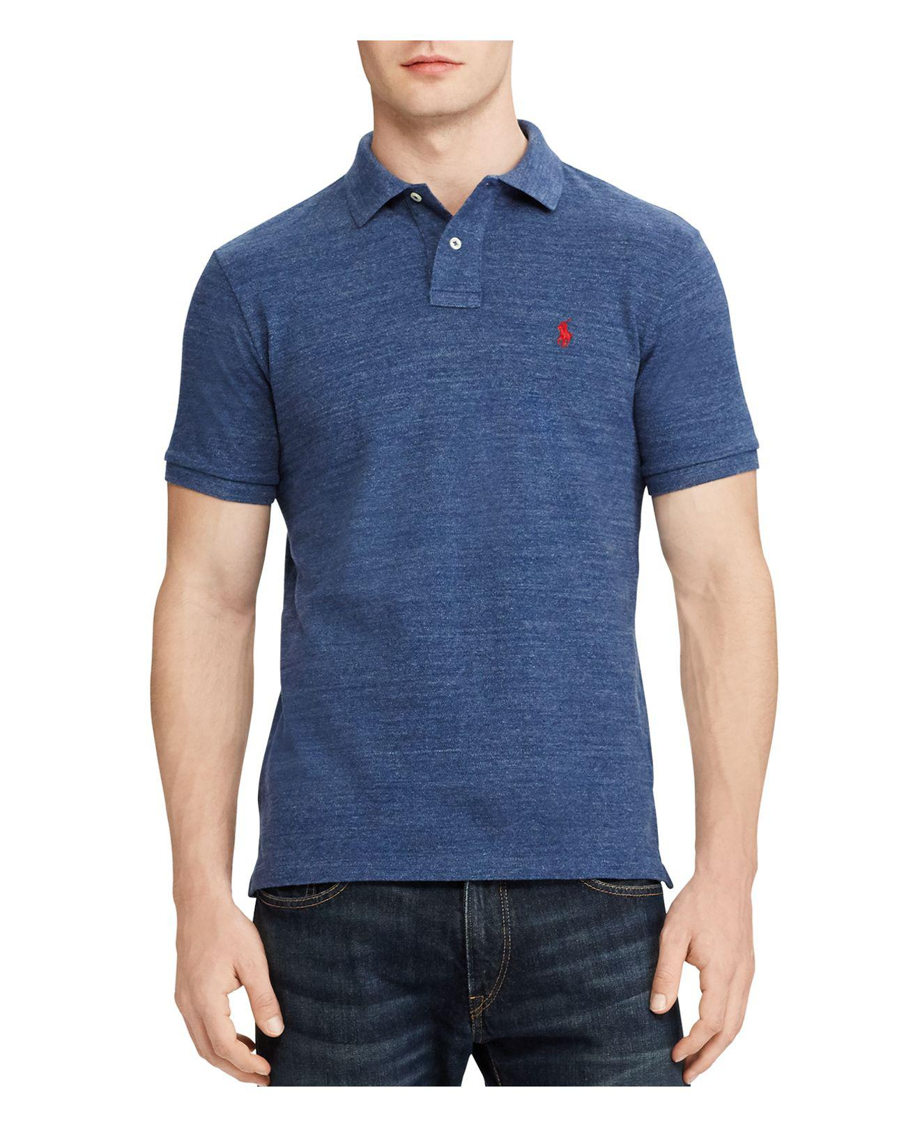 Polo Ralph Lauren. Men's Blue Cotton Mesh Custom Slim Fit Polo Shirt