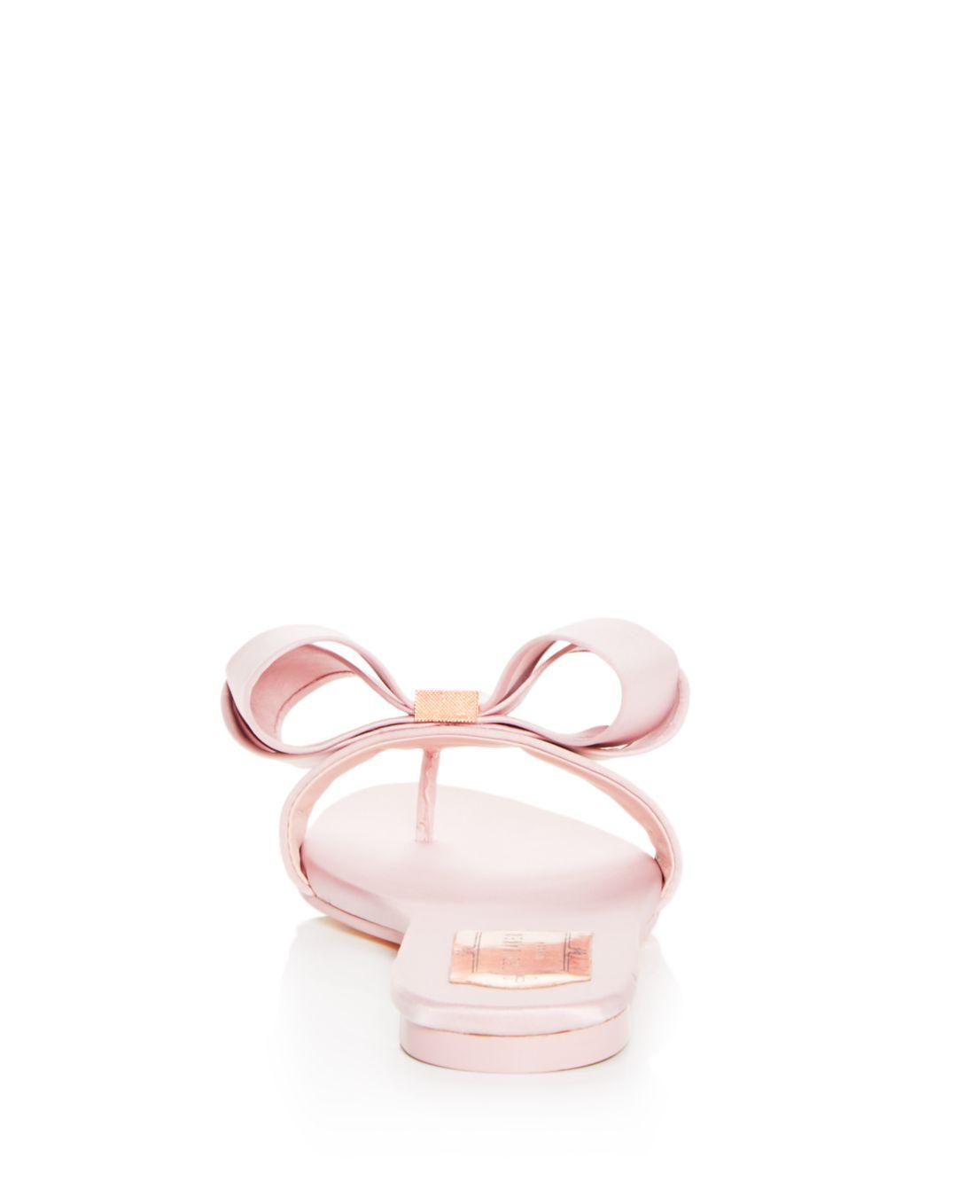 dc302fd78dfa Lyst - Ted Baker Women s Beauita Satin Bow Thong Sandals in Pink