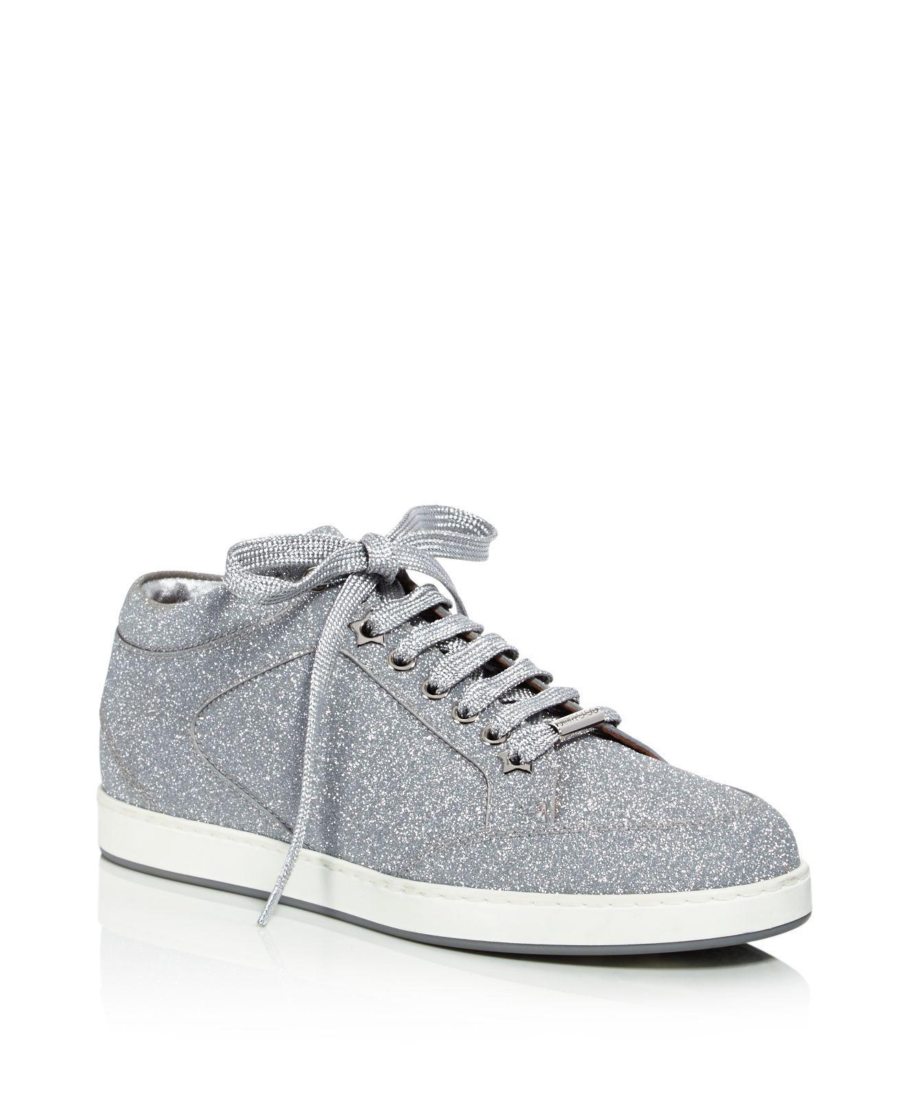 Miami Glitter-paneled Suede Sneakers - Beige Jimmy Choo London 7QQQ0nghgP
