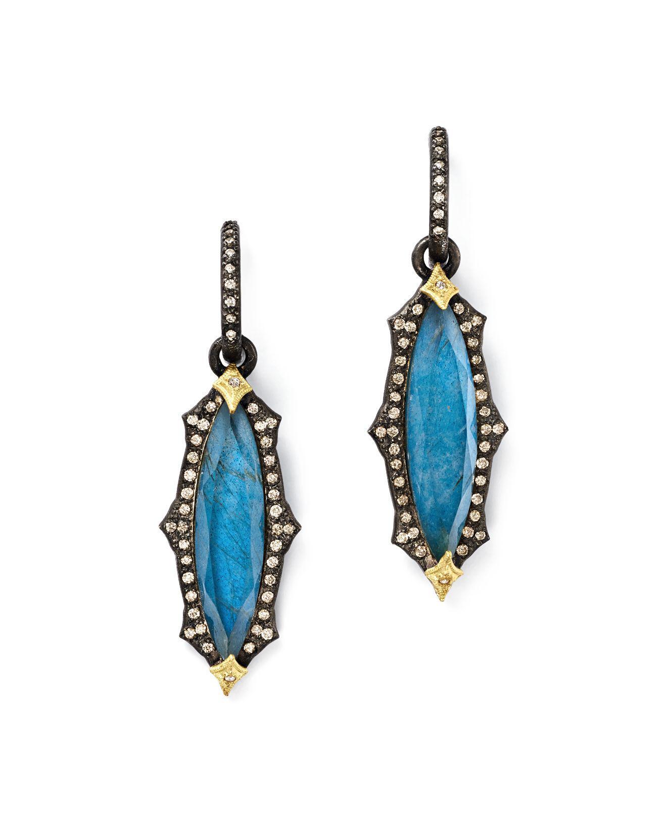 Armenta Emerald-Cut Triplet Drop Earrings w/ 18k Gold 9T75K4