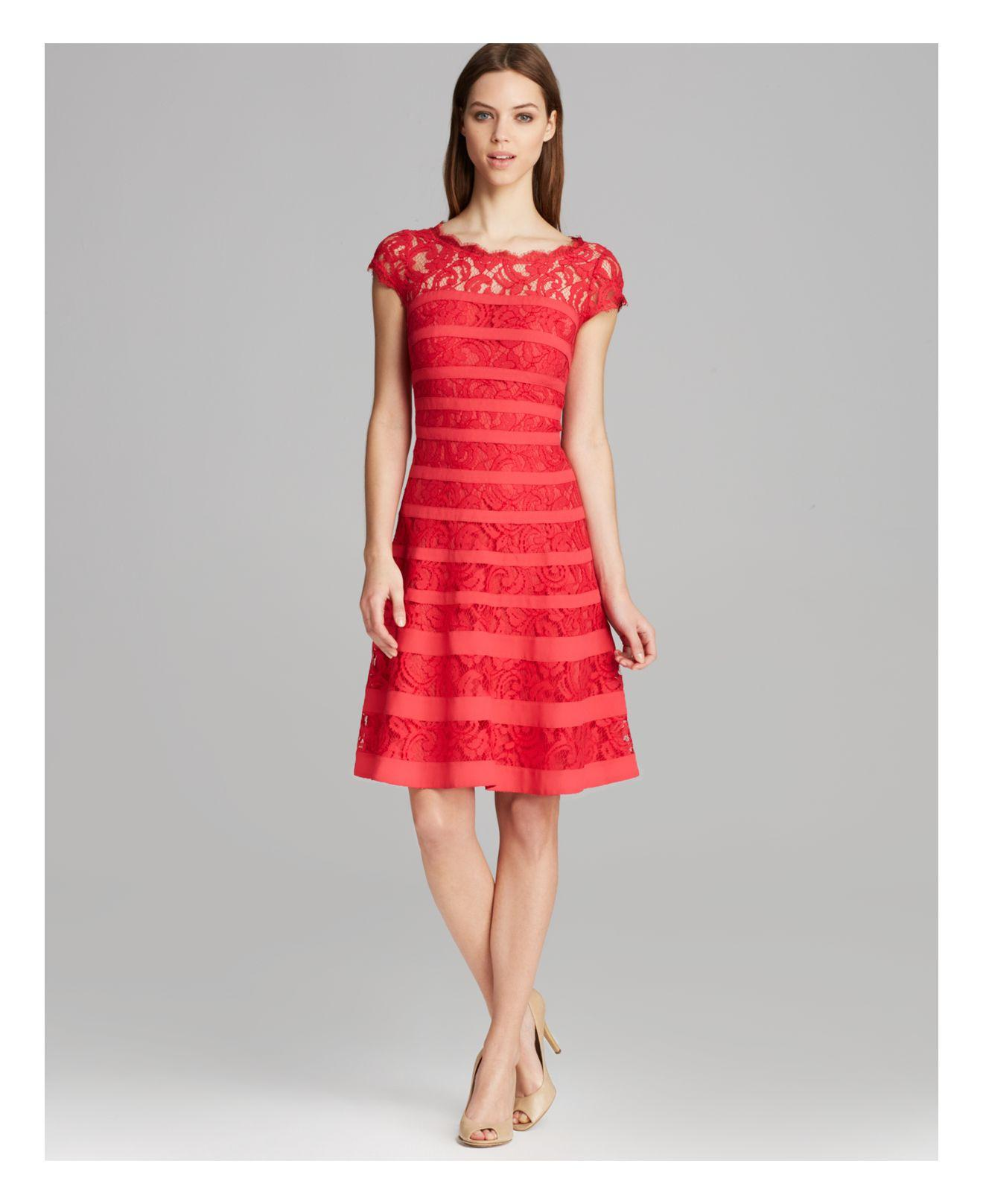 Lyst Adrianna Papell Dress Cap Sleeve Stripe Banded Lace