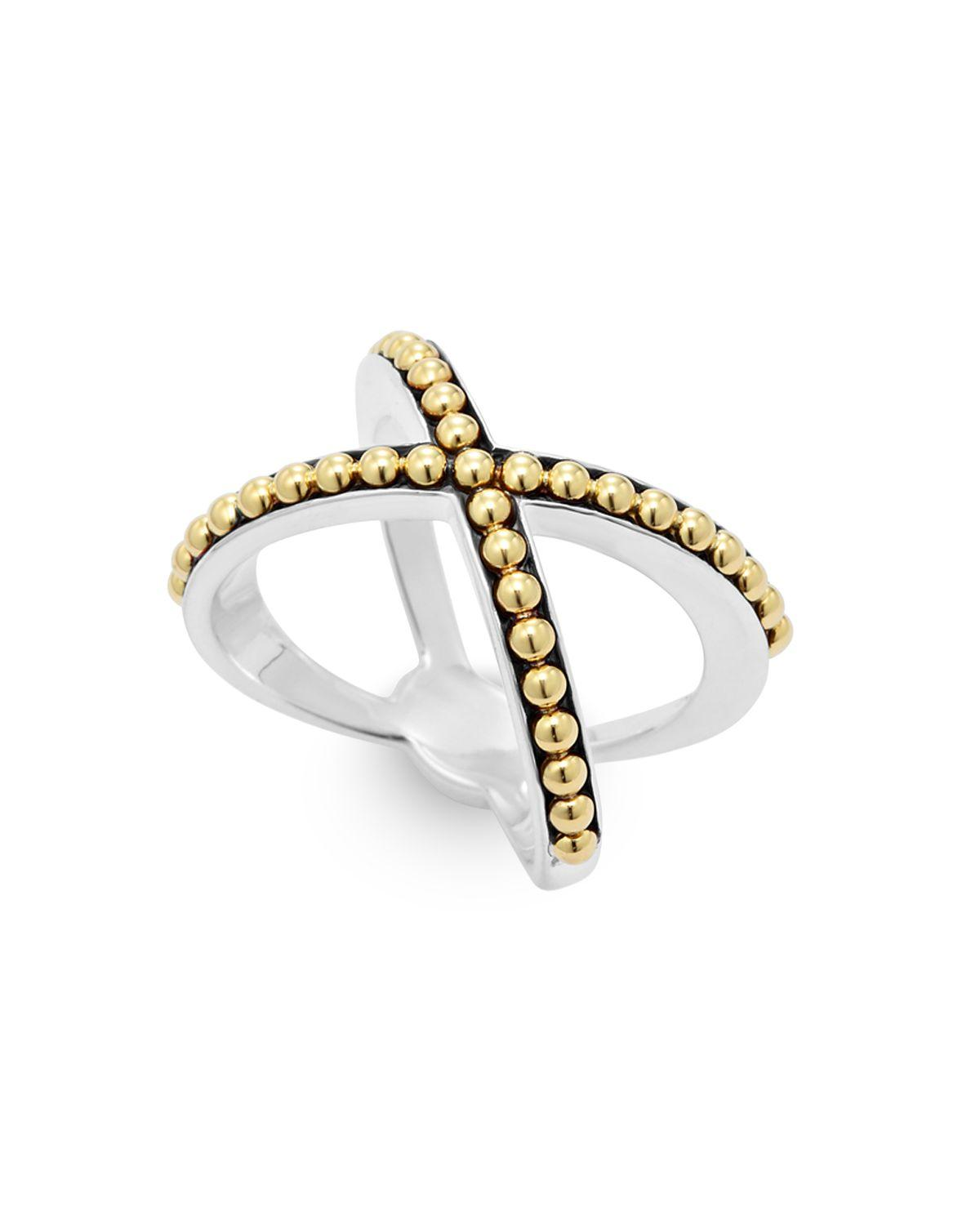 lagos 18k gold and sterling silver enso caviar x ring in