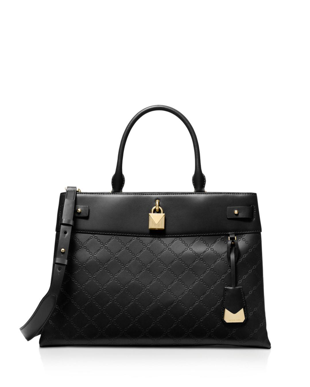 6a3726344a66 Lyst - MICHAEL Michael Kors Large Gramercy Leather Satchel in Black