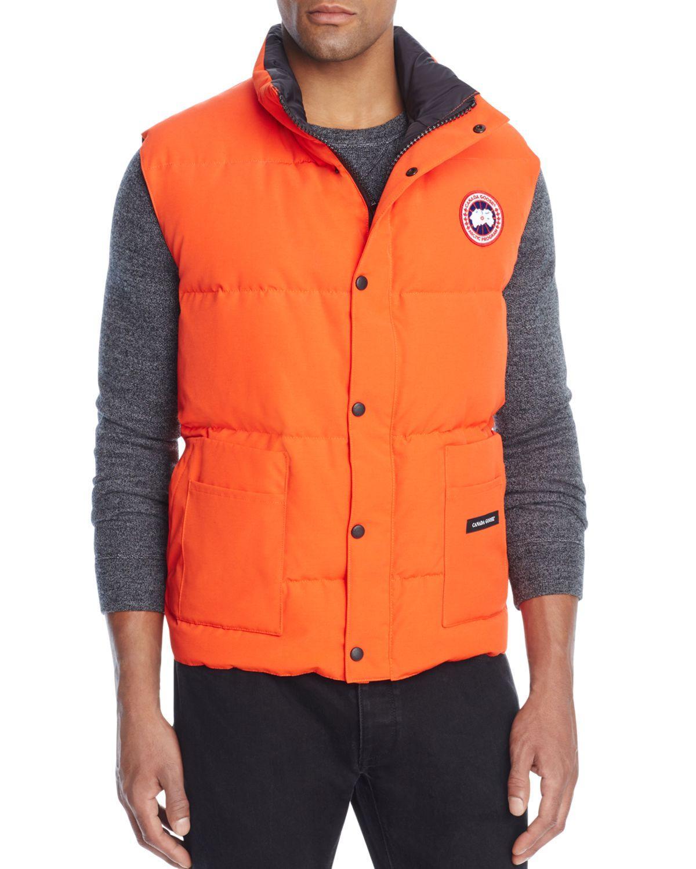 lyst canada goose freestyle down vest in orange for men rh lyst com