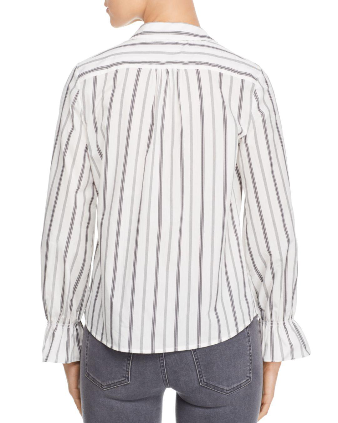 90f30d800ba10d Lyst - Karl Lagerfeld Striped Ruffle Top in White