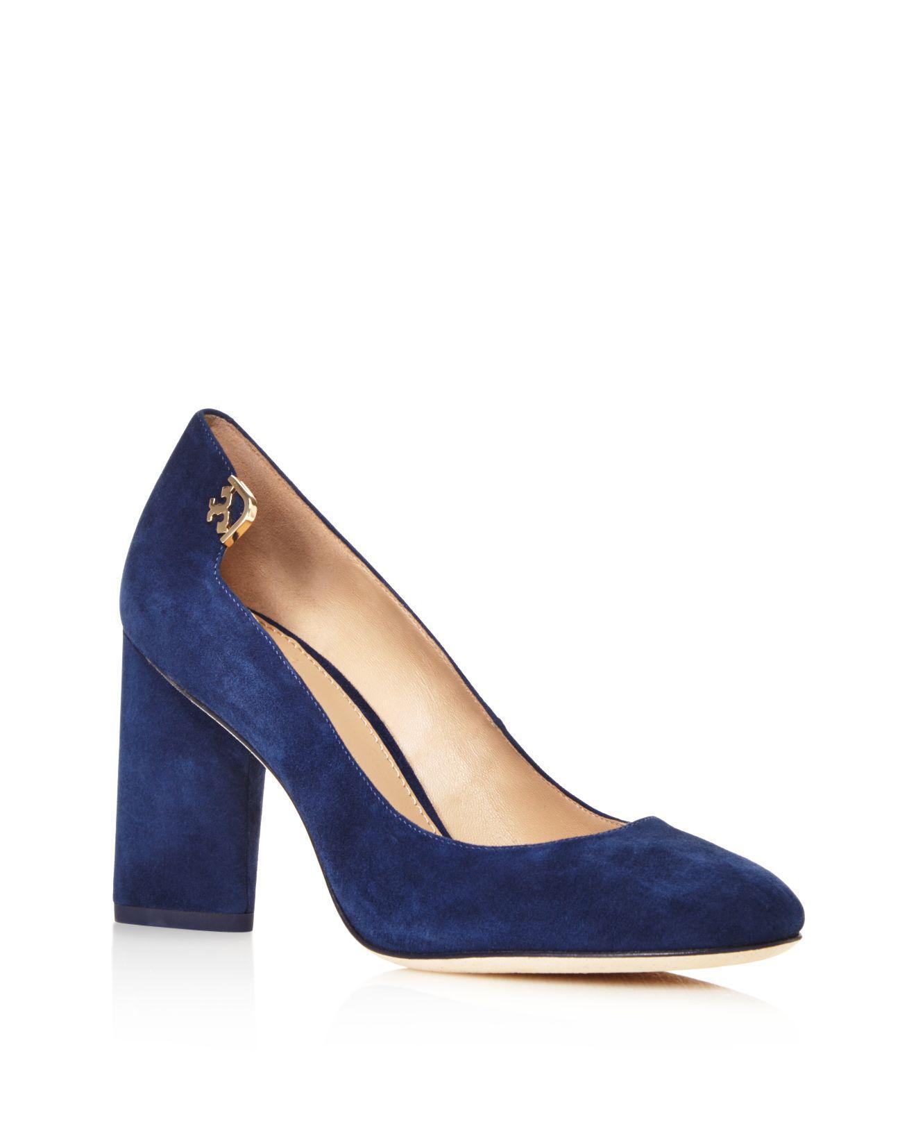 Lux London >> Lyst - Tory Burch Elizabeth Suede High Block Heel Pumps in Blue