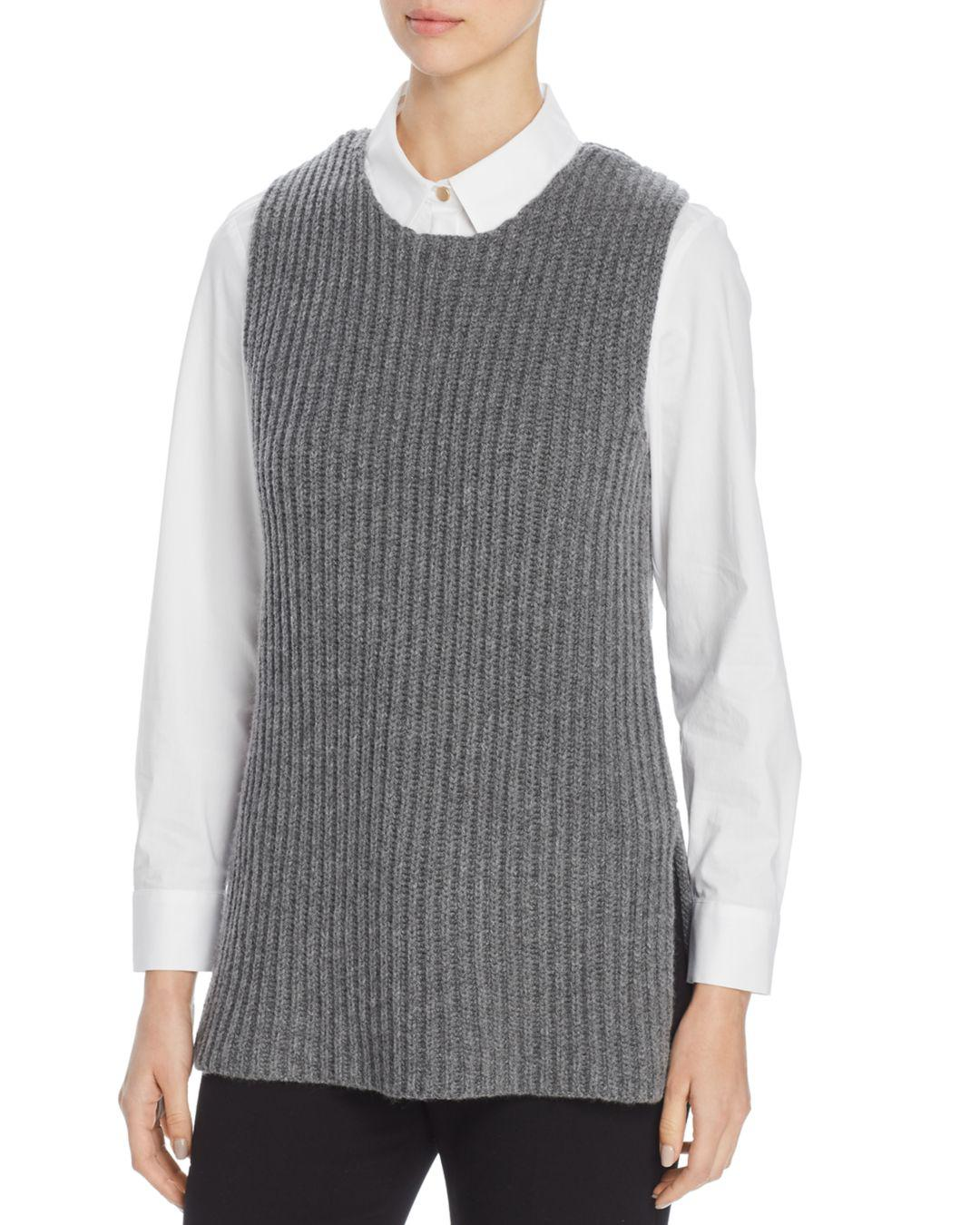 a6fd403b4d12 Lyst - Tory Burch Sleeveless Sweater in Gray