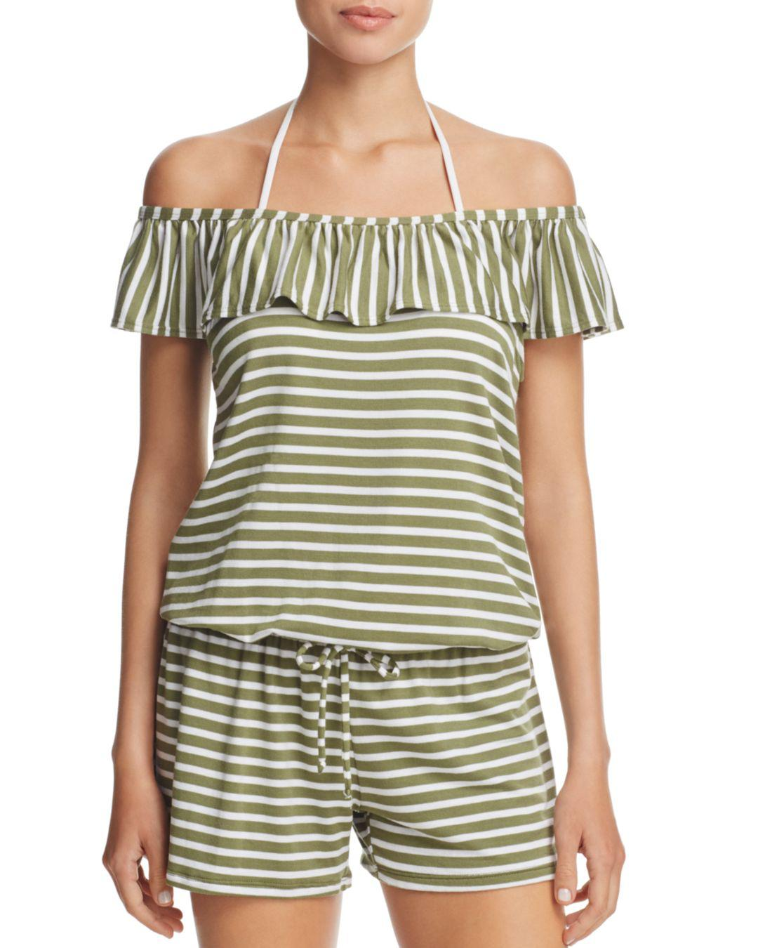 f3d07051192 Splendid Stripe Covers Romper Swim Cover-up in Green - Lyst