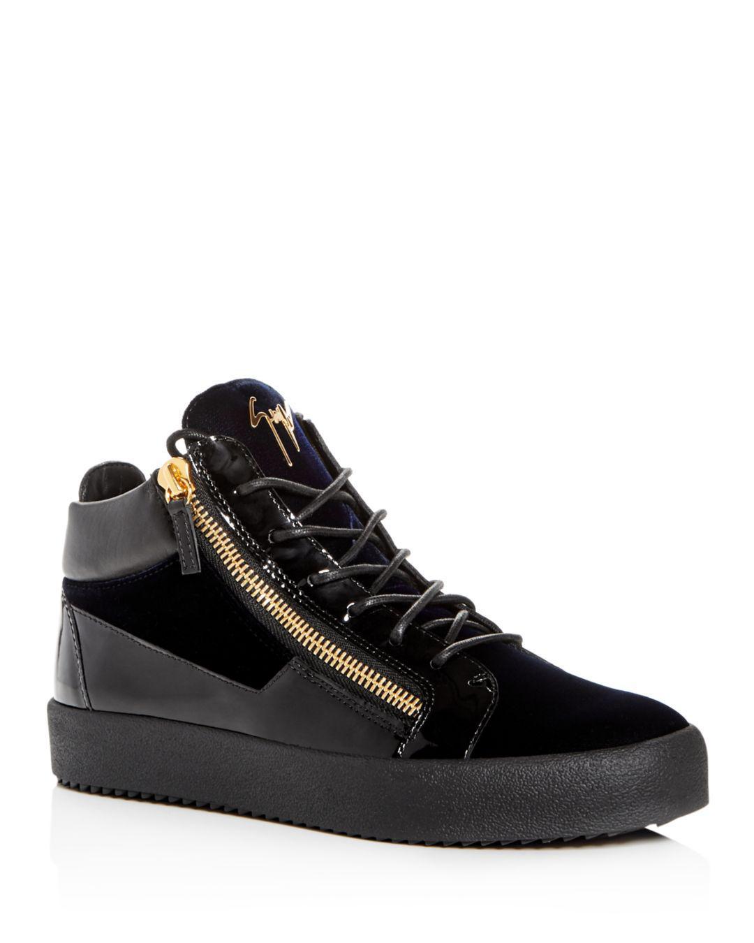 351789865da67 Giuseppe Zanotti. Blue Men s Velvet   Patent Leather Mid Top Sneakers