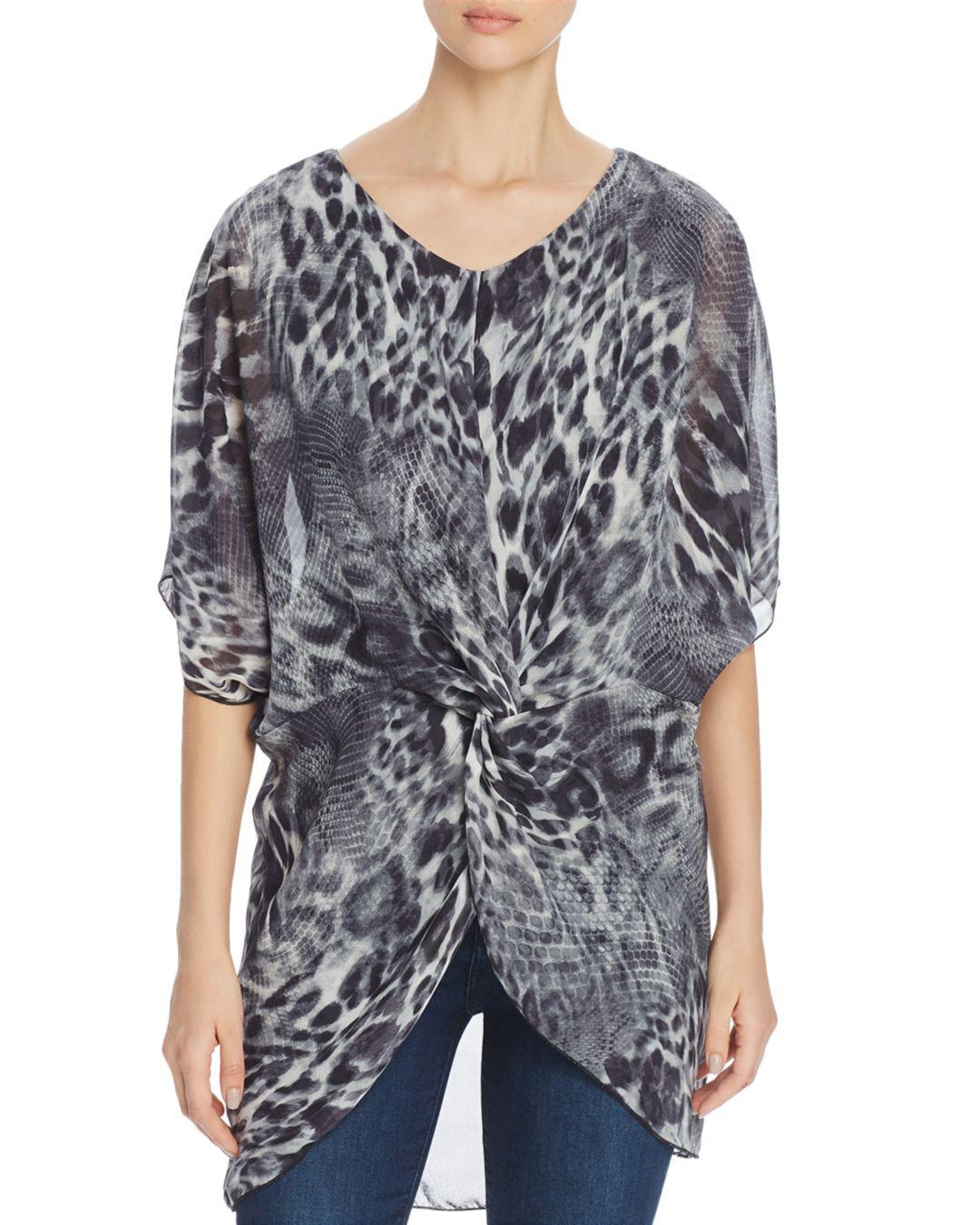 8280ad1e7427e Kim   Cami Animal-print High low Tunic Top in Gray - Lyst