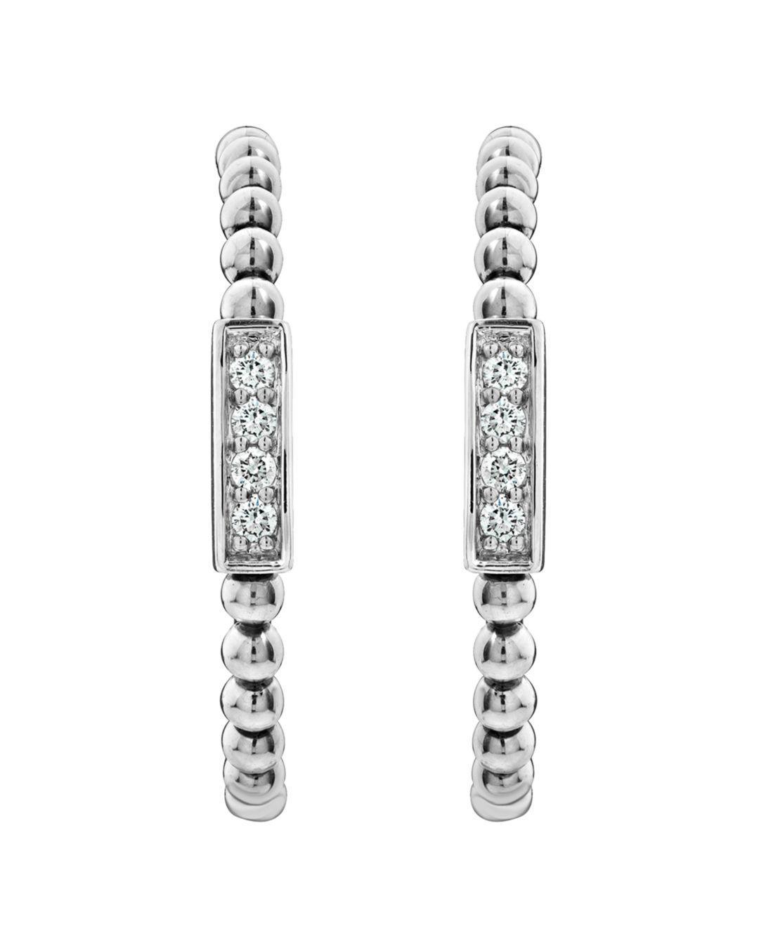 c49173461 Lyst - Lagos Sterling Silver Caviar Spark Diamond Hoop Earrings in Metallic