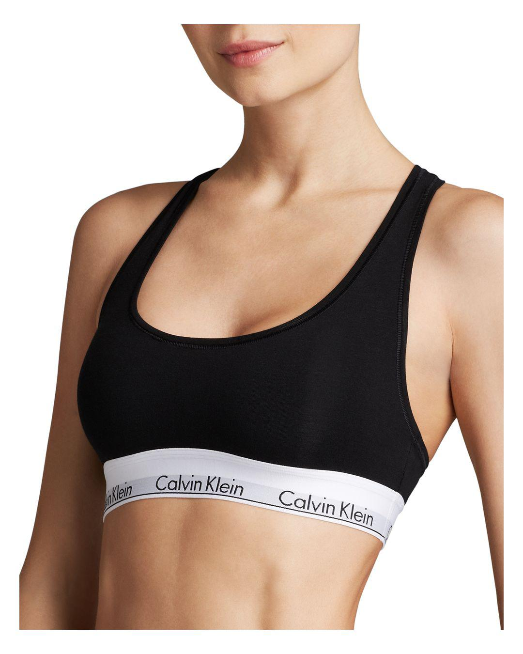 83a8f58027 Calvin Klein - Black Modern Cotton Unlined Bralette - Lyst. View fullscreen