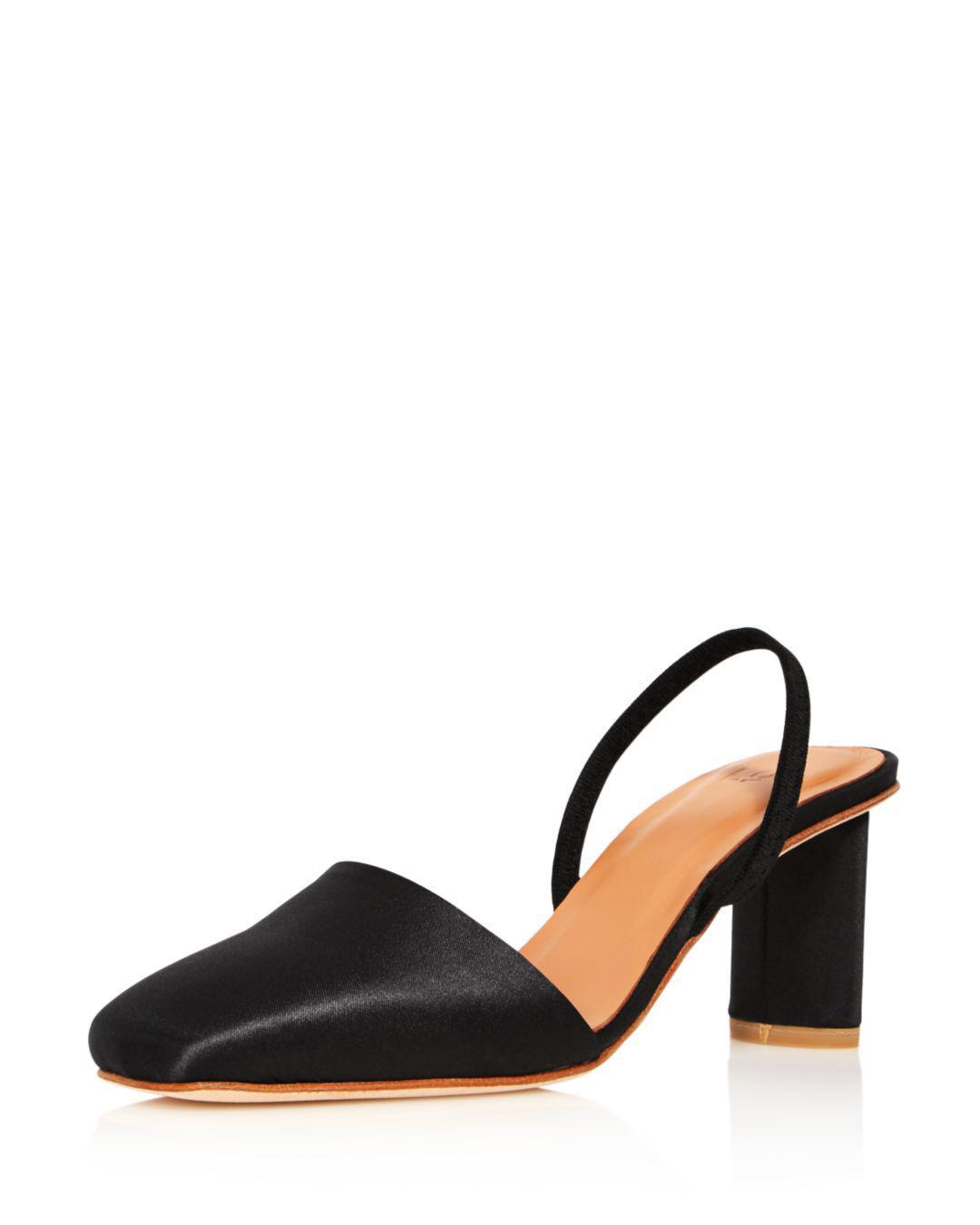168ca55c6df Loq womens felipa square toe slingback mid heel satin pumps jpg 1080x1350 Square  toe sling back
