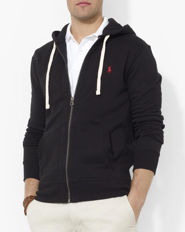 polo ralph lauren classic full zip fleece hoodie in black for men. Black Bedroom Furniture Sets. Home Design Ideas