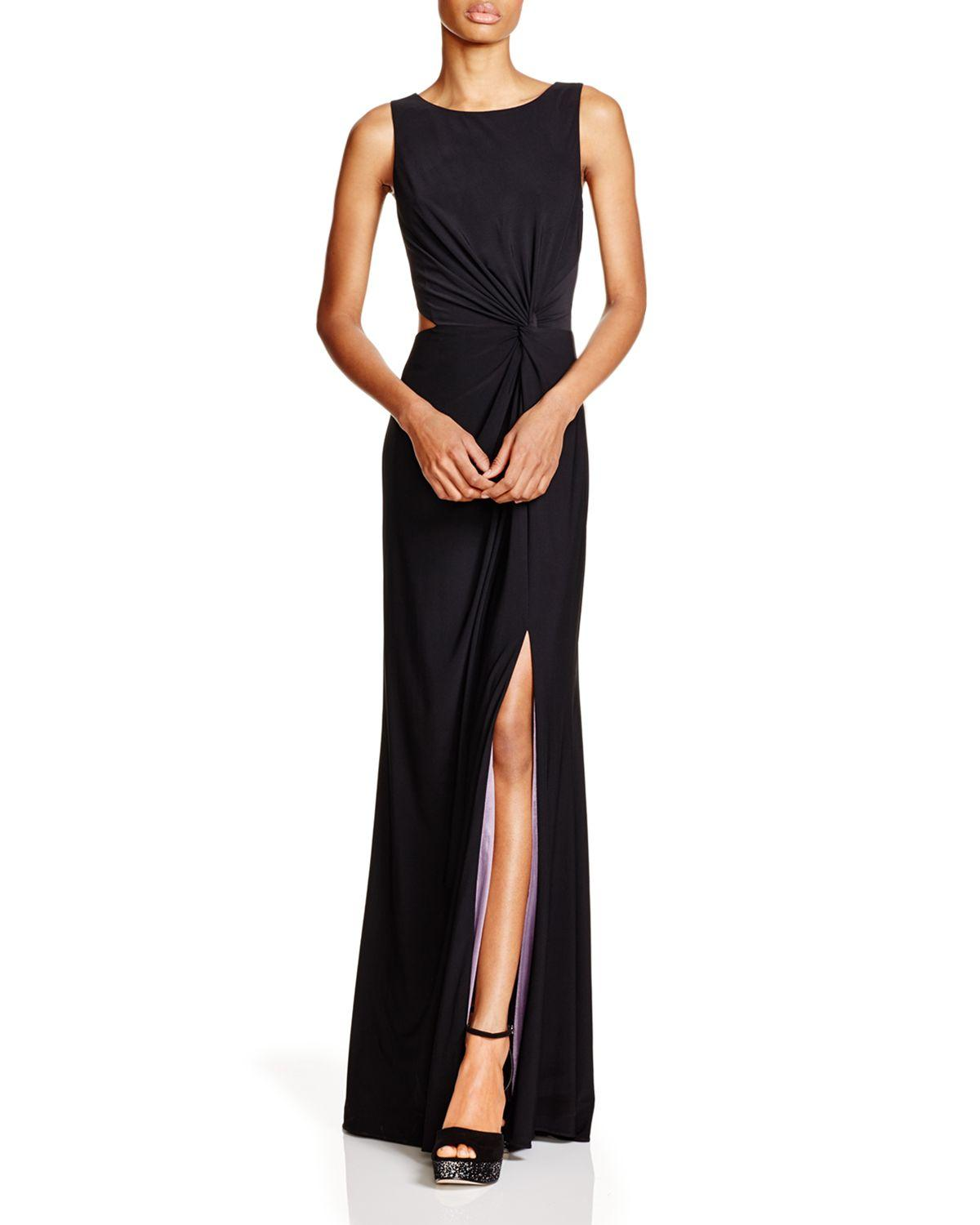 Lyst - Aqua Sleeveless Cutout Side Gown - 100% Exclusive in Black
