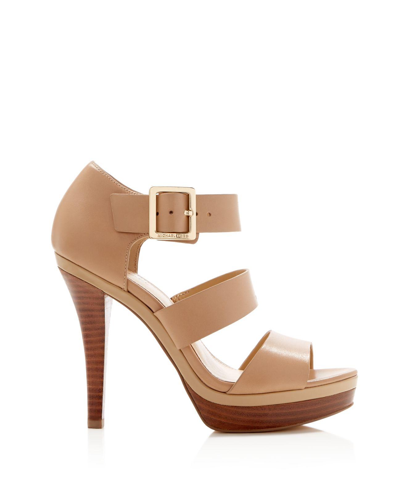 michael michael kors finley high heel platform sandals in brown lyst. Black Bedroom Furniture Sets. Home Design Ideas