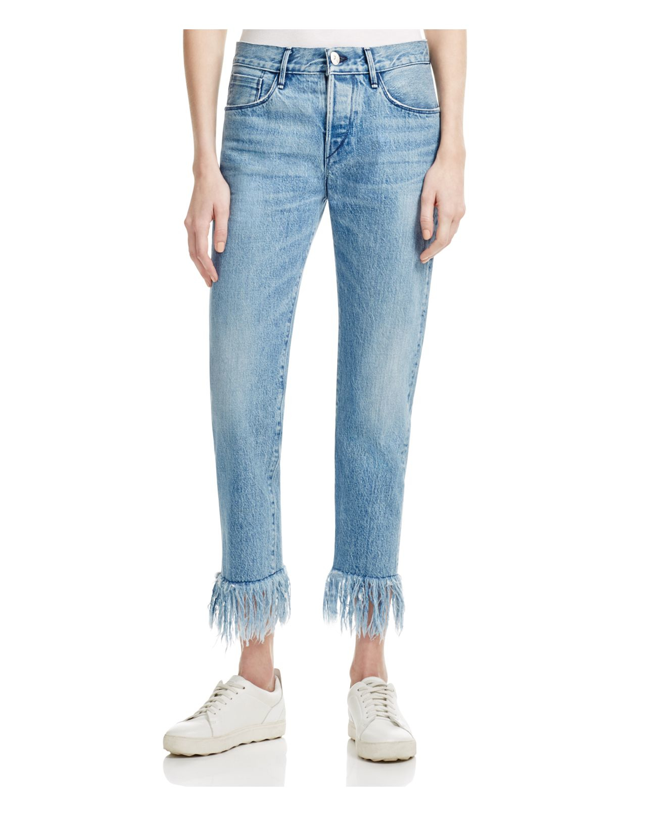 Lyst 3x1 Fringed Cropped High Waisted Jeans In Blue