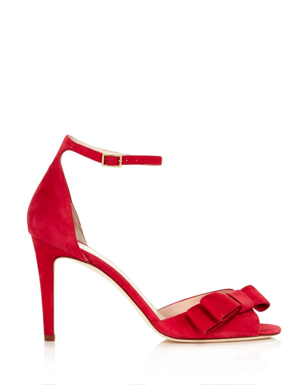 306c2d19d116 Lyst - Kate Spade Women s Ismay Suede High-heel Bow Sandals in Red