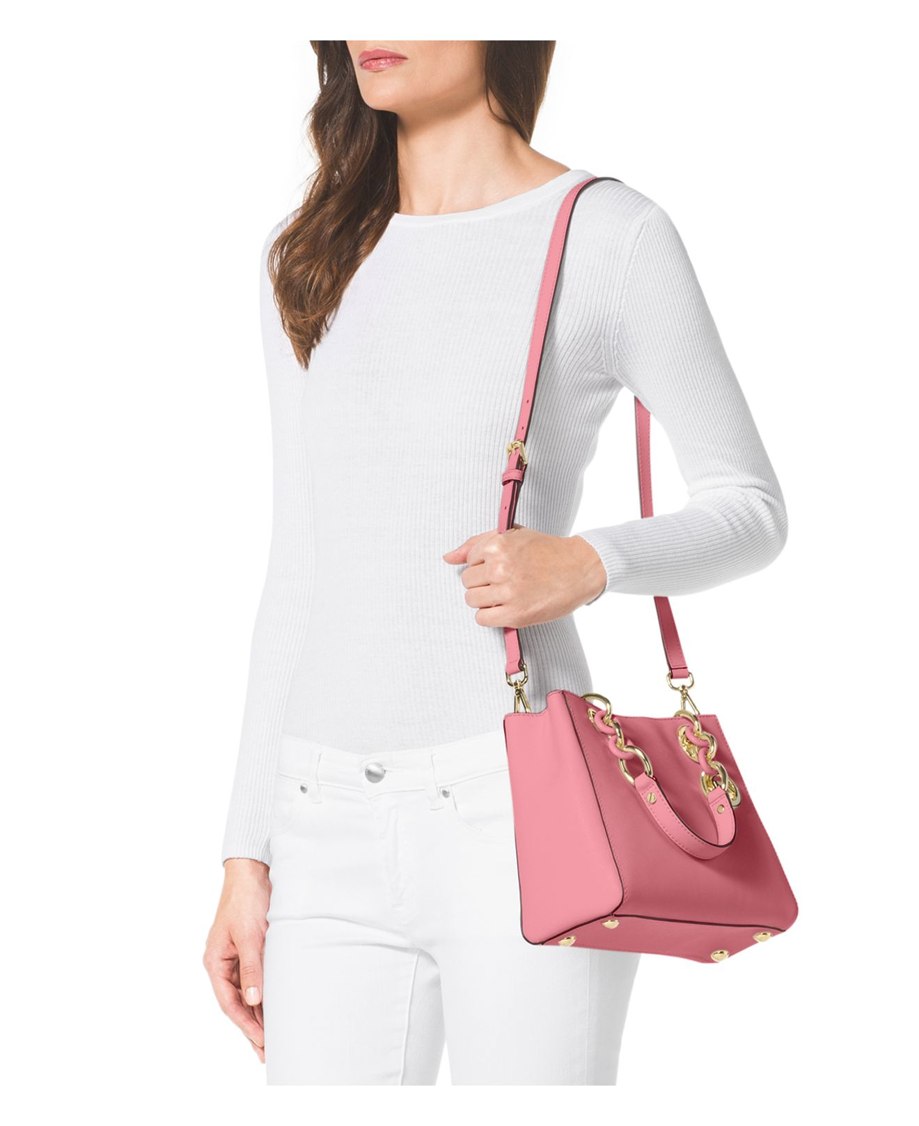 11542440a3f5 ... inexpensive michael michael kors small cynthia saffiano satchel in pink  lyst 1eb8c f8a4f