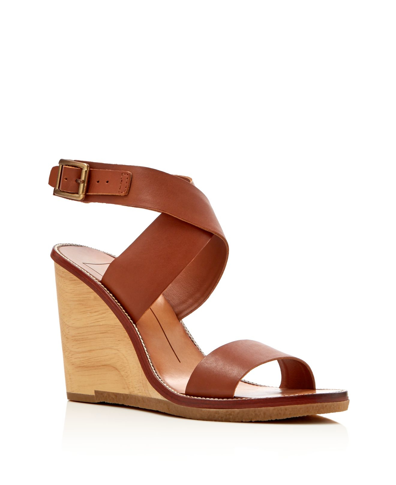 dolce vita wood wedge sandals in brown lyst