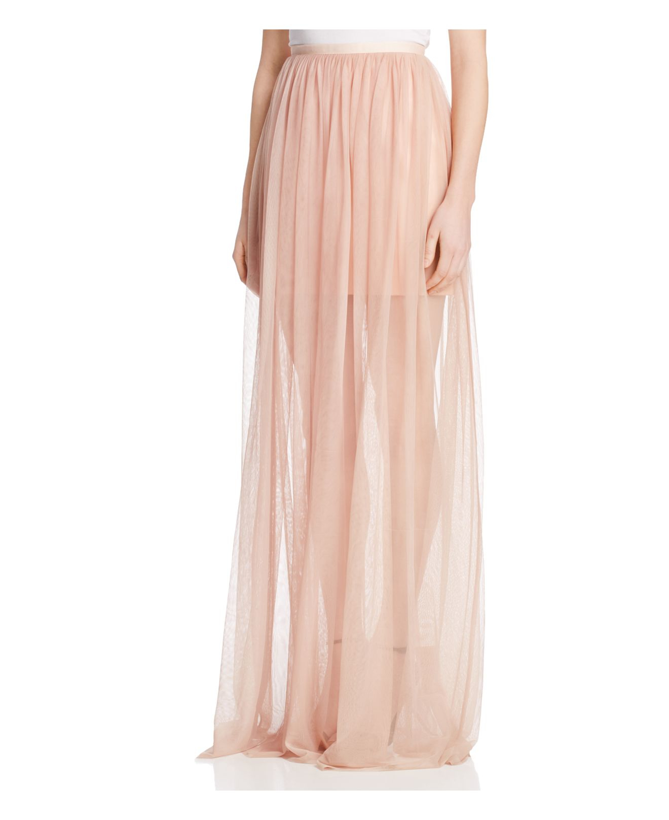 keepsake white lies tulle illusion maxi skirt in pink