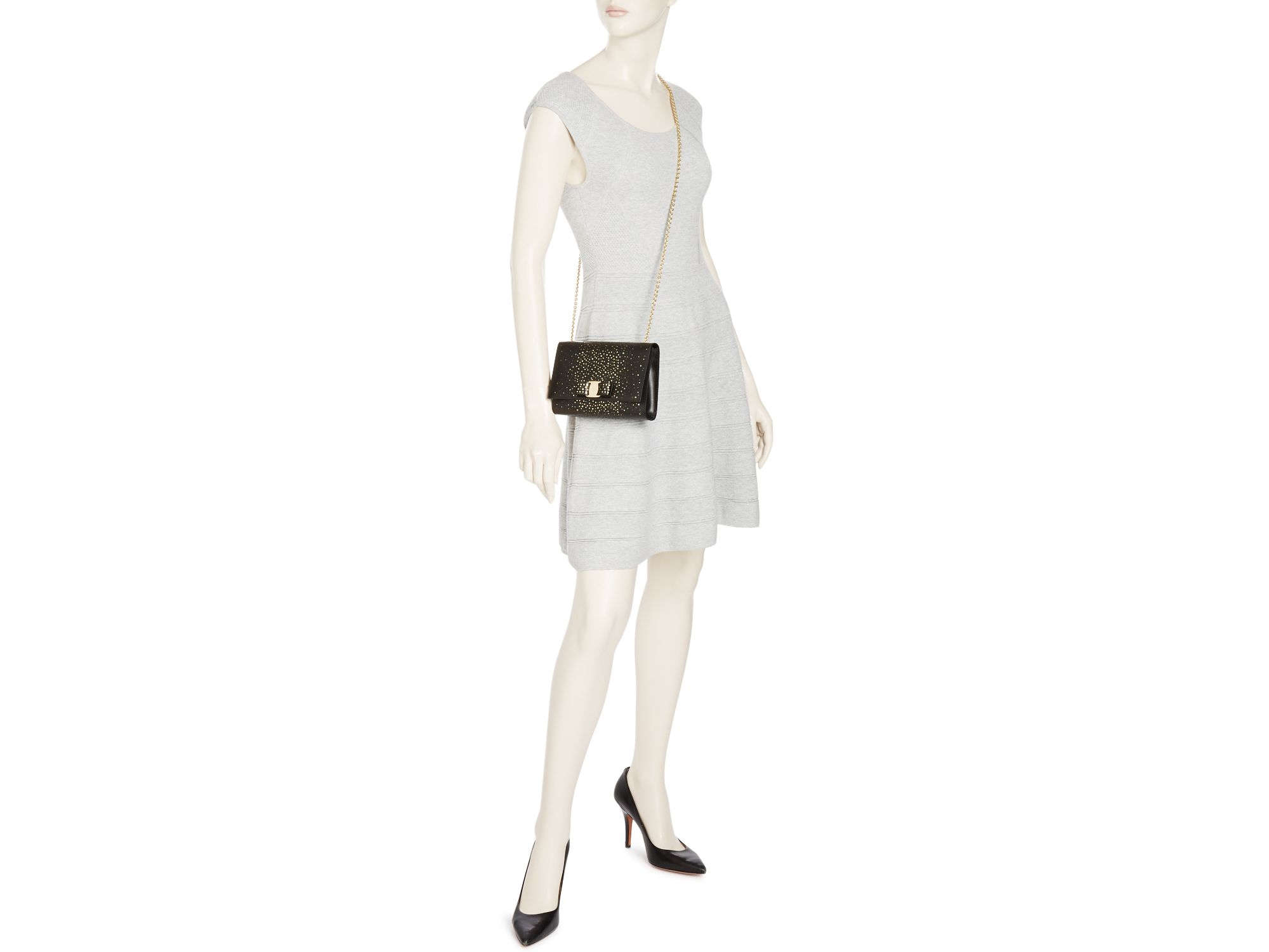 57bc81ea0461 Lyst - Ferragamo Miss Vara Twinkle Mini Bag in Black