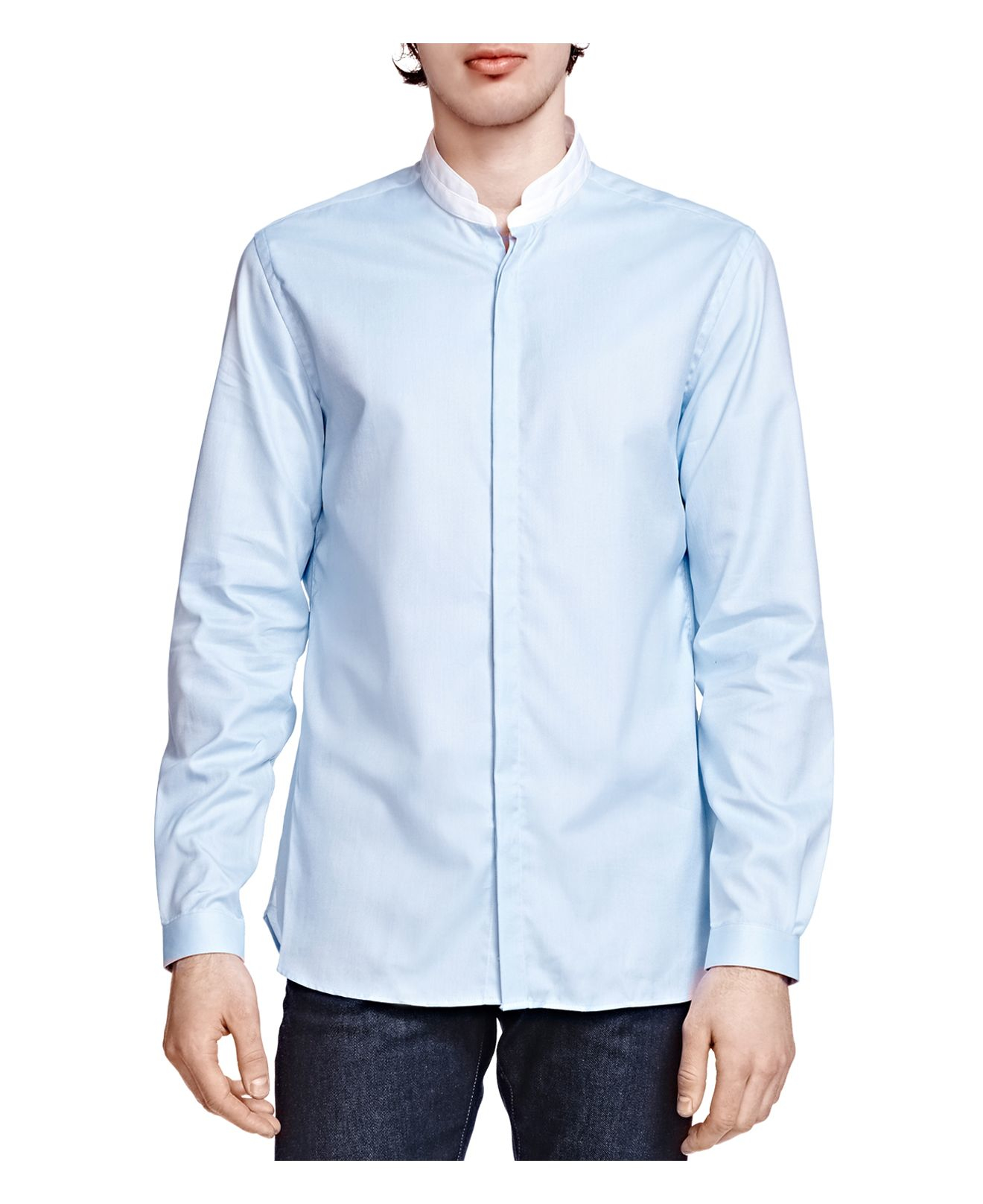 The Kooples Pique Slim Fit Button Down Shirt In Blue For