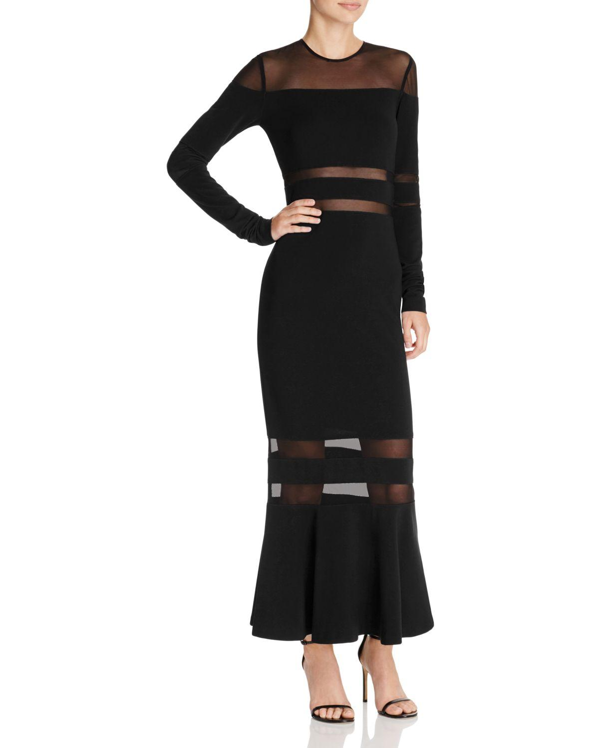Lyst - Nicole Miller Illusion Inset Gown in Black