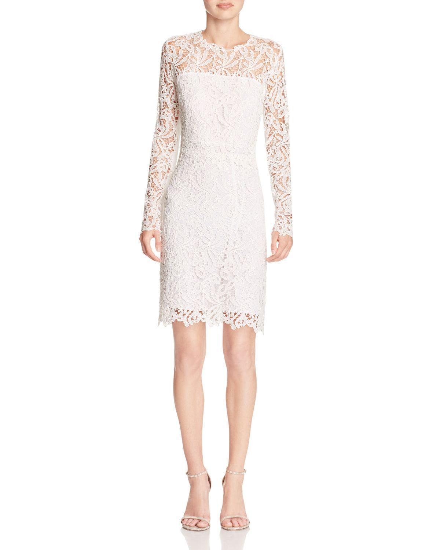 00b8ecaeb84dc Lyst - Elie Tahari Priscilla Lace Sheath Dress in White