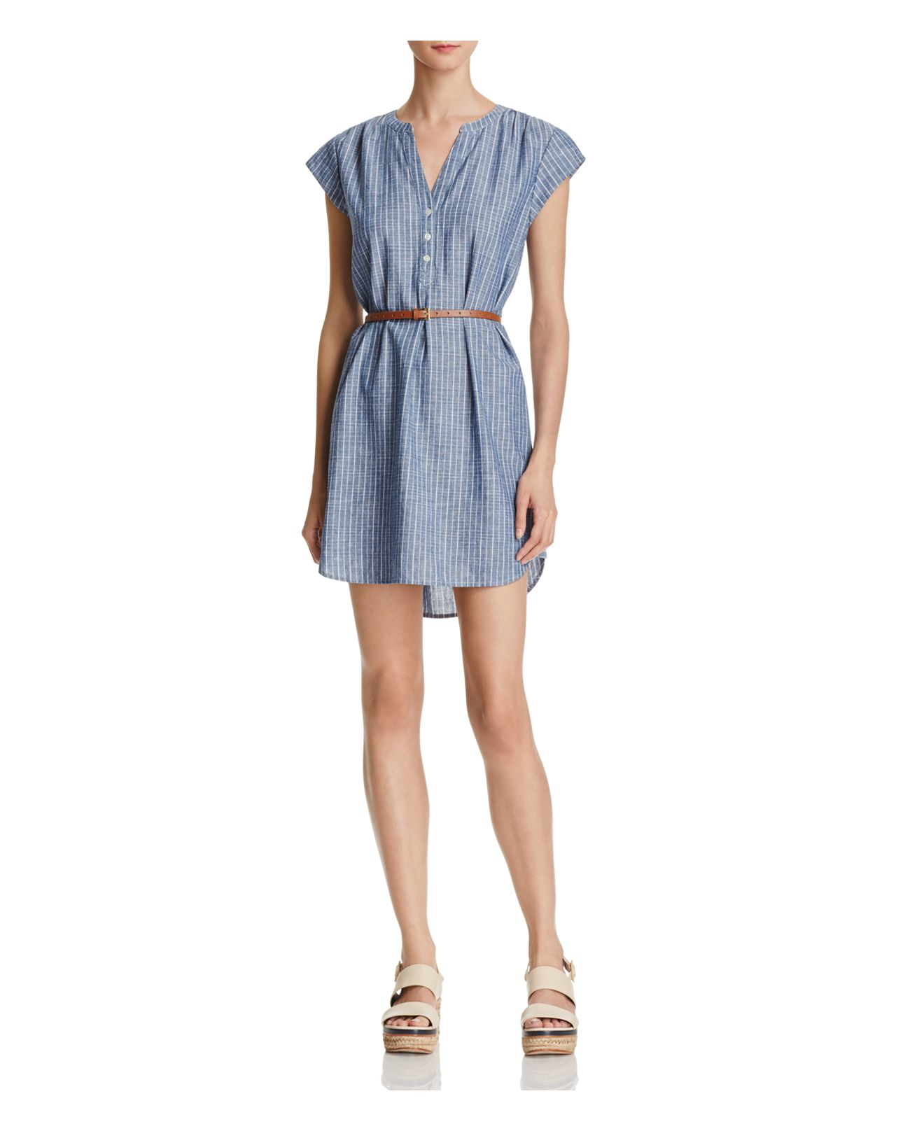 Lyst joie neha belted chambray shirt dress in blue for Belted chambray shirt dress