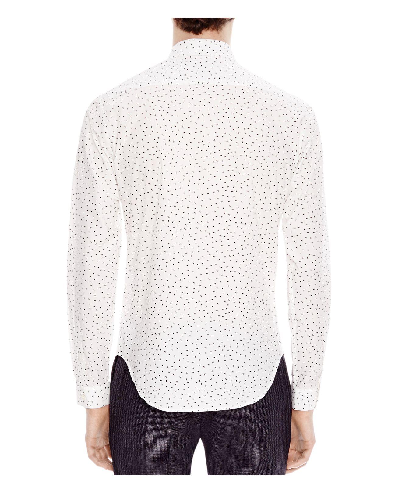 Lyst sandro diamond slim fit button down shirt in white for Slim fit white button down shirt