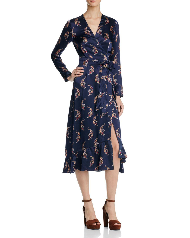 Sandro Tiger Printed Silk Wrap Dress In Blue Lyst