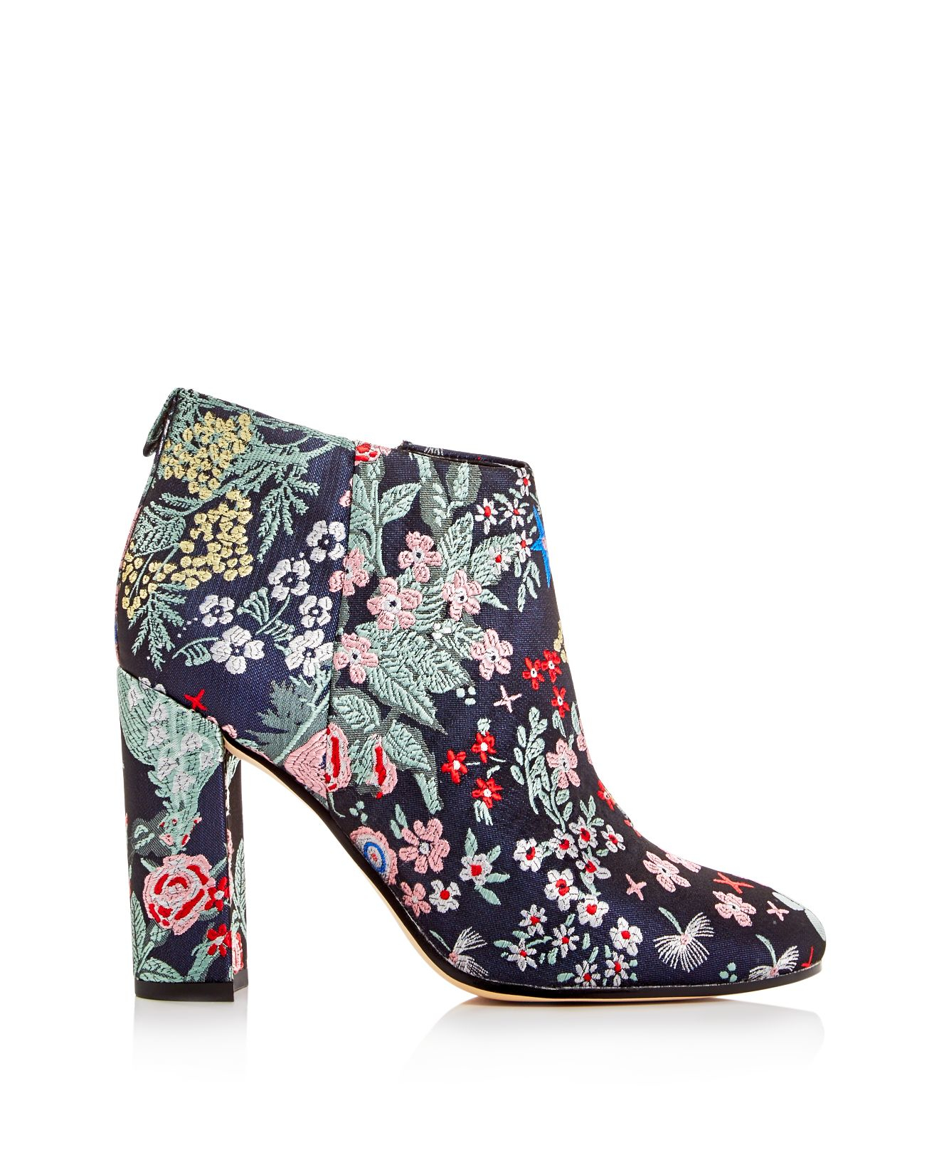 28c21cd109b89 Sam Edelman Campbell Floral Jacquard Block Heel Booties in Blue - Lyst