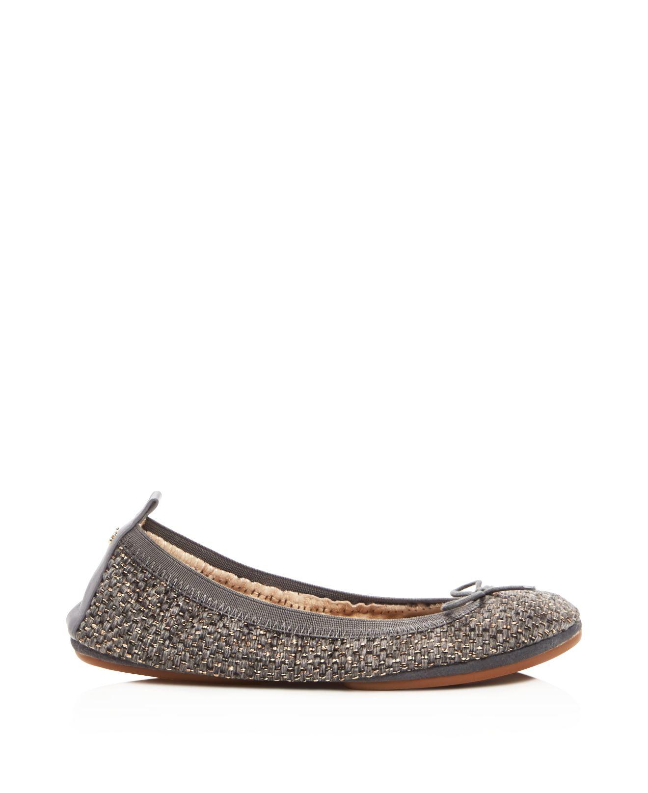9709f8a04679 Lyst - Yosi Samra Sandrine Melange Tweed Ballet Flats in Brown