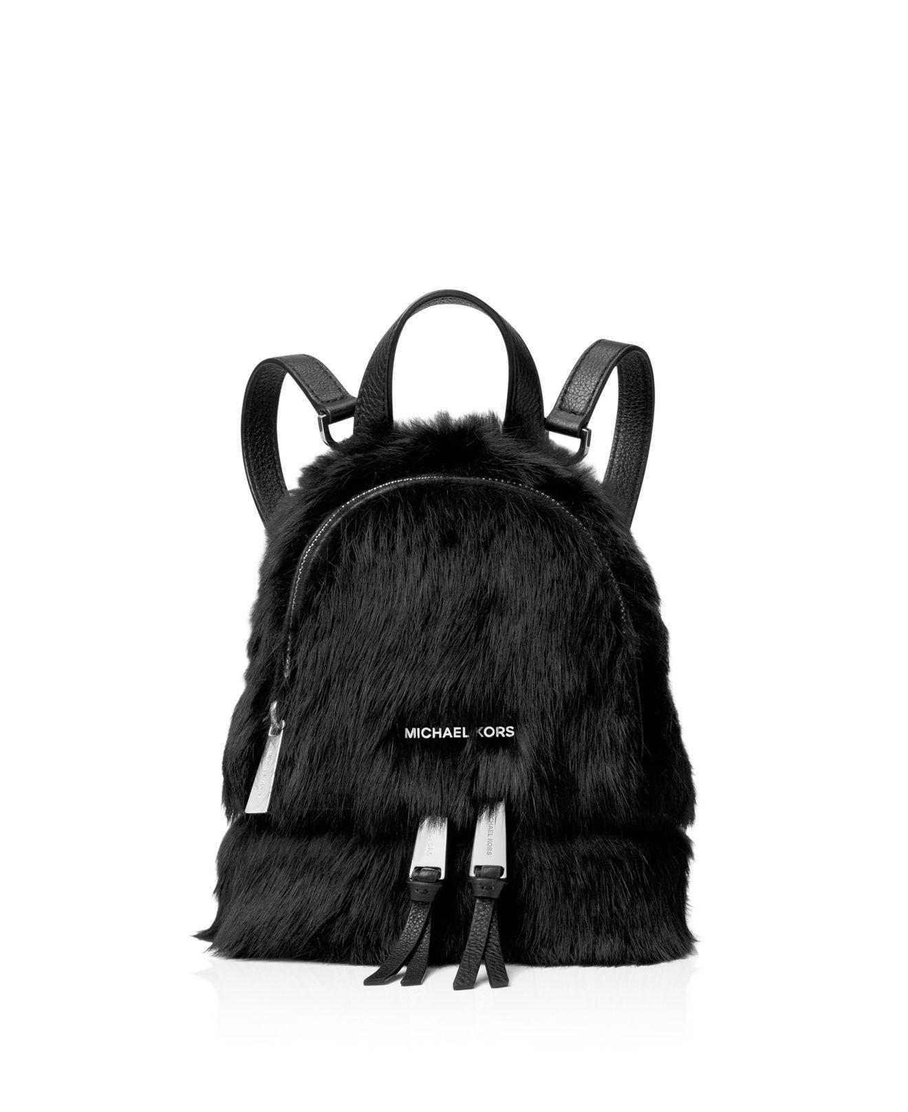 4f96a957256 ... order michael michael kors shearling fur backpack in black lyst 4aeb8  c565b