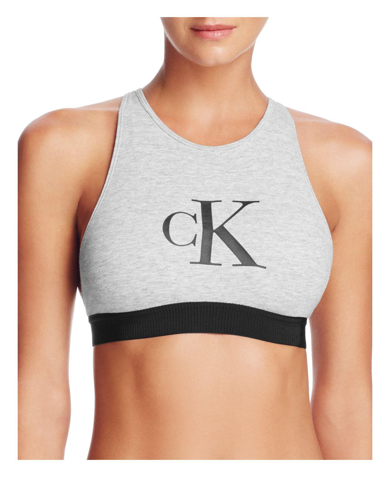 13741b25d5a Lyst - Calvin Klein Retro Calvin Unlined Bralette  qf1642 in Gray