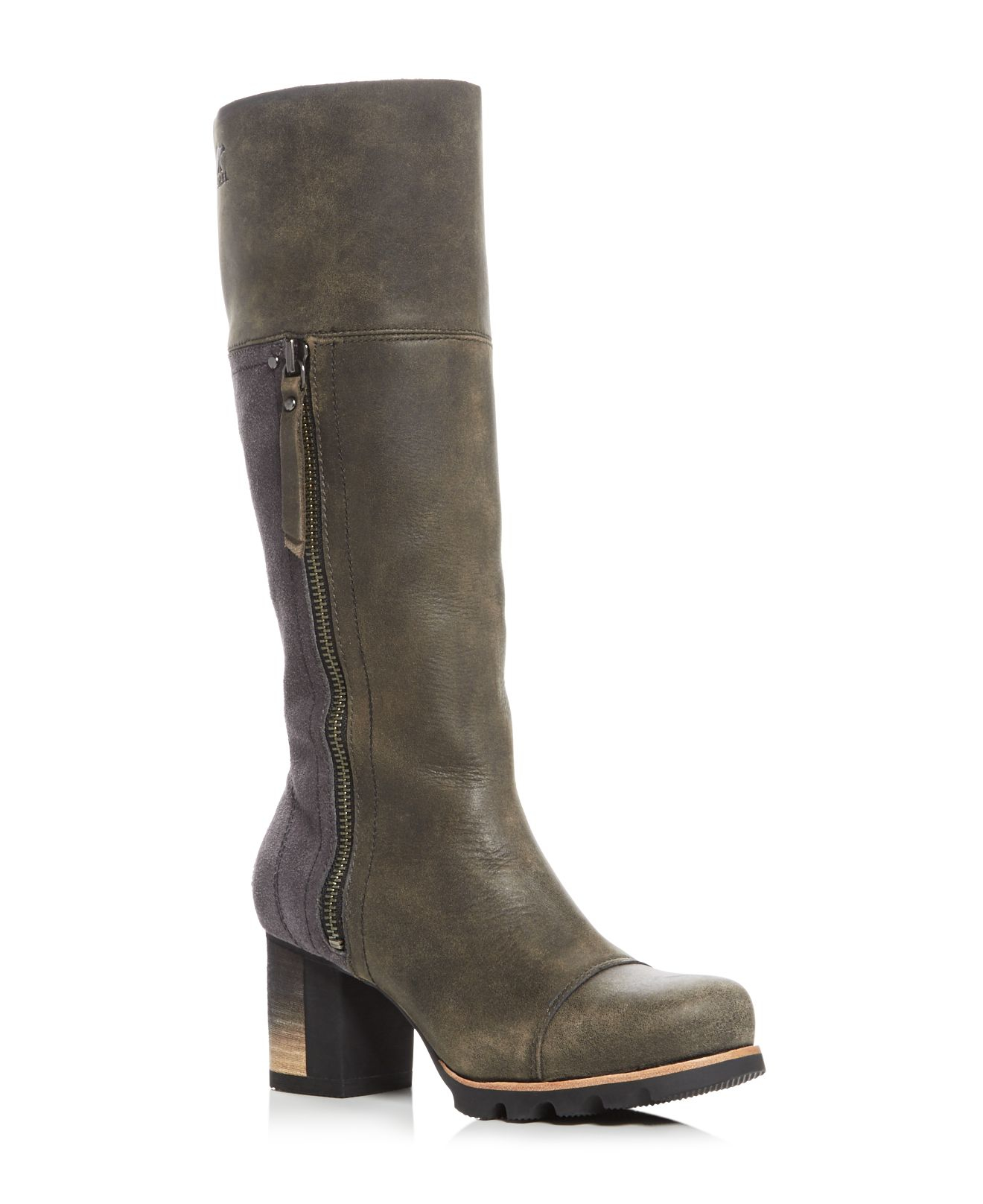 Lyst Sorel Addington Waterproof High Heel Tall Boots In Gray