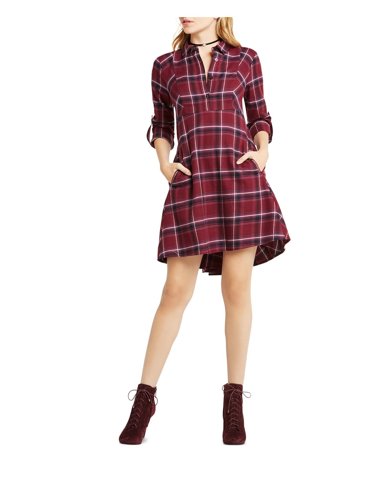 Bcbgeneration plaid shirt dress in red lyst for Red plaid dress shirt
