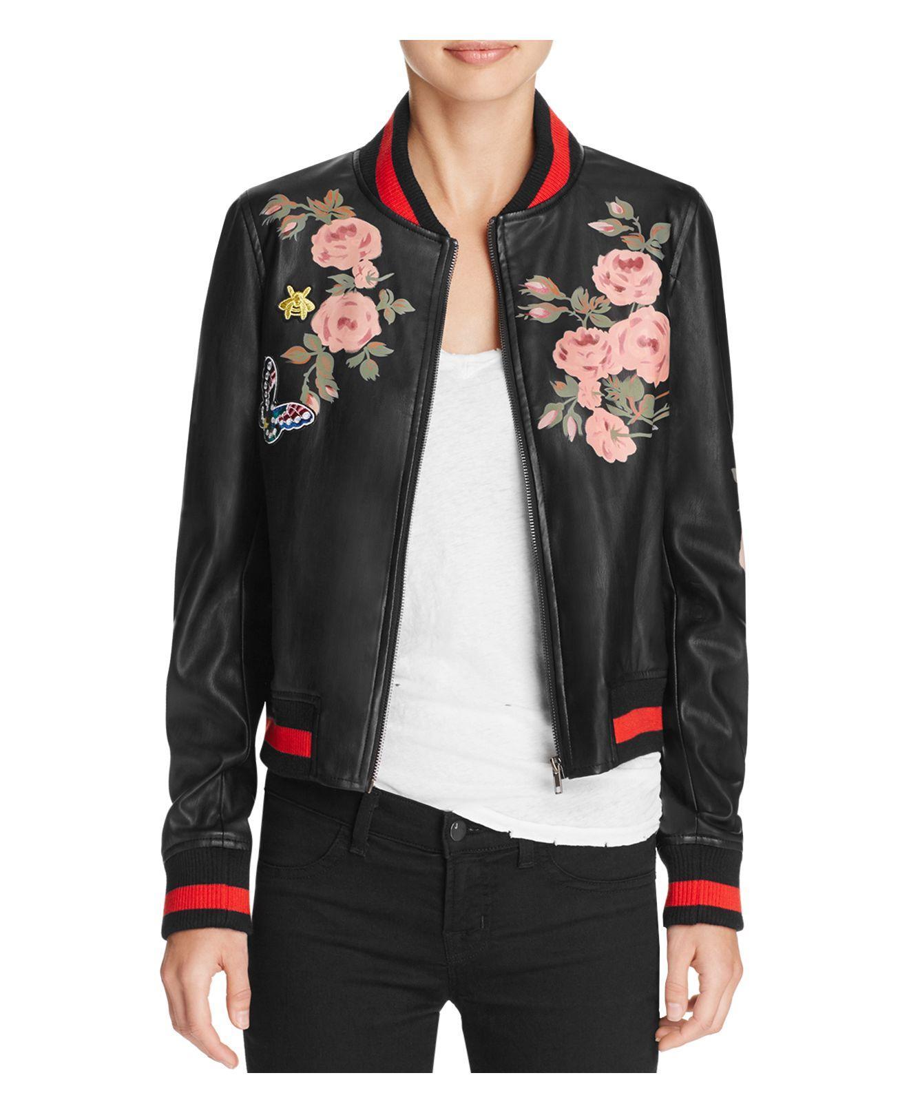 Black faux leather bomber jacket women