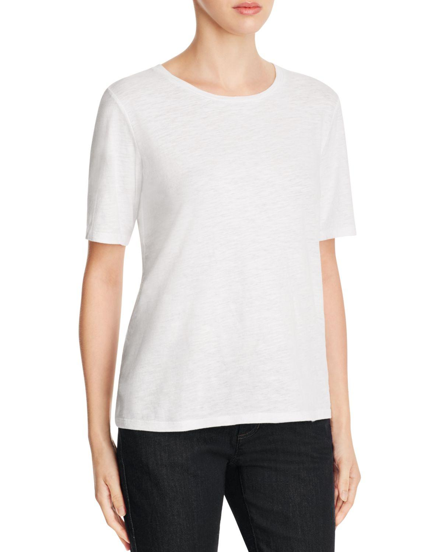 Eileen fisher organic cotton heathered tee in white lyst for Eileen fisher organic cotton t shirt