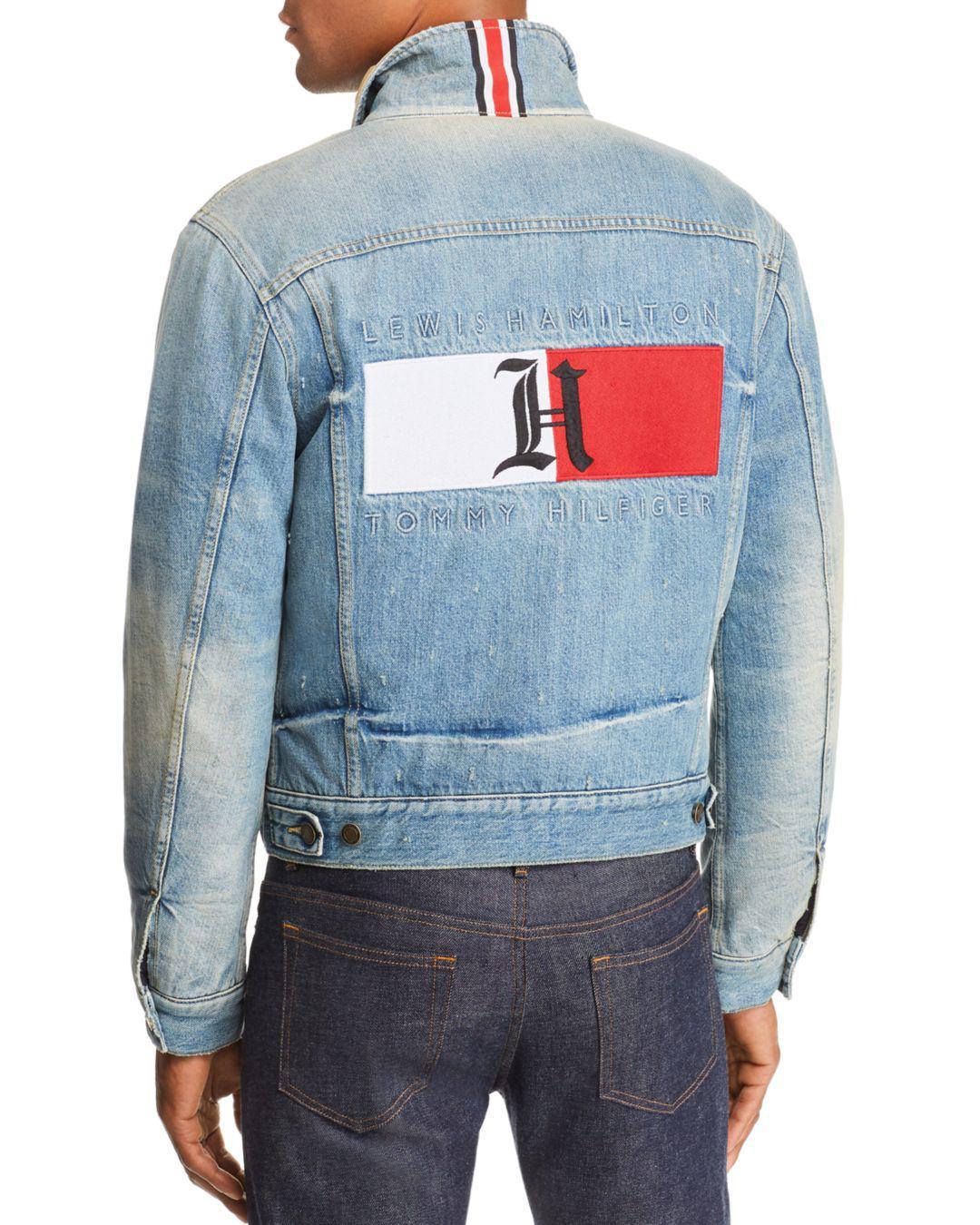 Tommy Hilfiger Blue X Lewis Hamilton Bonde Distressed Denim Jacket for men