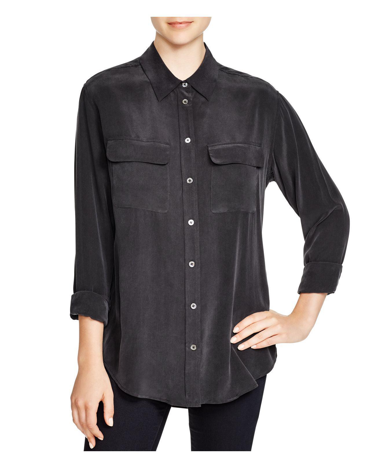 Lyst equipment slim signature silk shirt in black for Equipment black silk shirt