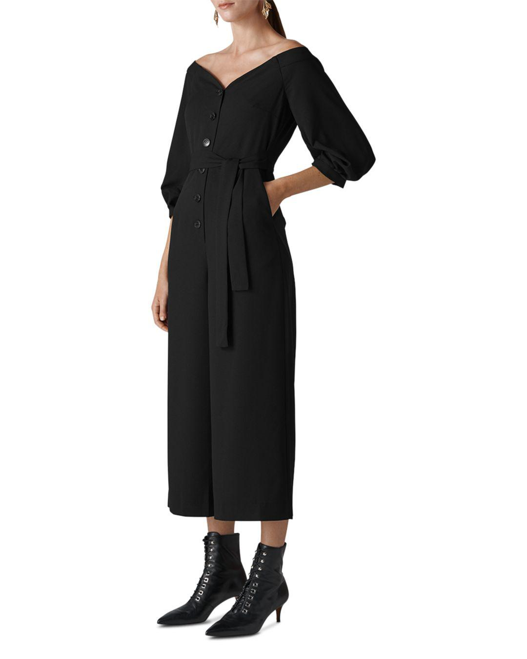 a7d8b2b4cd3c Whistles Carina Off-the-shoulder Jumpsuit in Black - Save 40% - Lyst